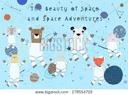 Hand Drawn Cute Funny Animals in Space with Typography in Childish Style. Isolated objects on white background. Line drawing. Vector illustration. Design concept for children print. stock photo