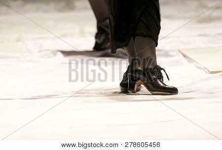 Artistic Dancer Legs Dancing Flamenco, Legs Fragment Close Up Croped Version. Photo Of Flamenco Danc