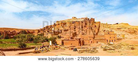 Unesco heritage Ait Ben Haddou kasbah in Morocco. Tourist attraction stock photo