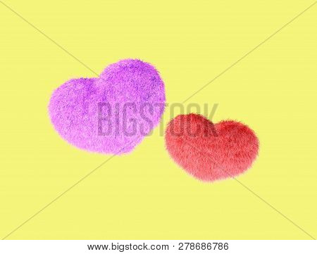 Fluffy heart. Fur plush heart. Heart shape red fluffy soft pillow or cushion for Valentines day or wedding day in love. 3d rendering. stock photo