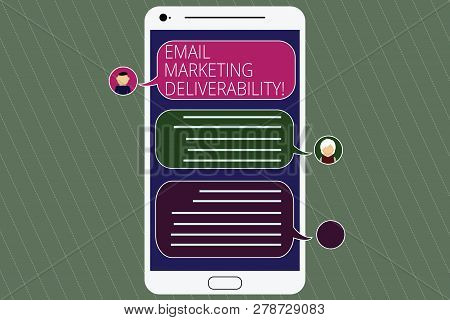 Handwriting text Email Marketing Deliverability. Concept meaning Ability to deliver emails to subscribers Mobile Messenger Screen with Chat Heads and Blank Color Speech Bubbles. stock photo