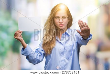 Young Beautiful Blonde Business Woman Holding Blank Card