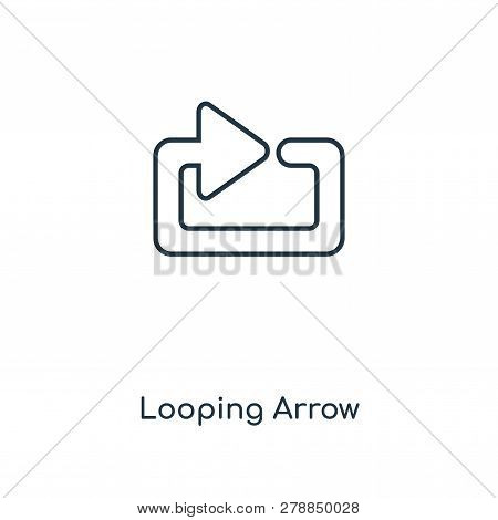 looping arrow icon in trendy design style. looping arrow icon isolated on white background. looping arrow vector icon simple and modern flat symbol for web site, mobile, logo, app, UI. looping arrow icon vector illustration, EPS10. stock photo