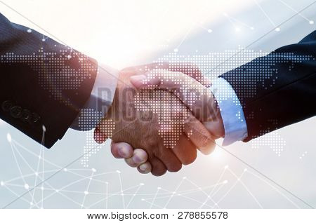 Business People Handshaking On Abstract City Background With Global World Map And Network Link Conne