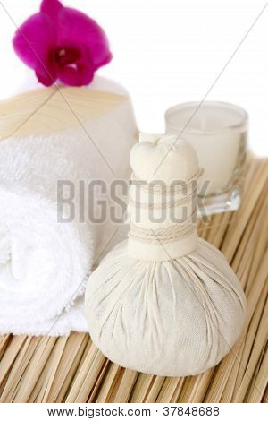 Thai  massage set for body  health and relax. stock photo