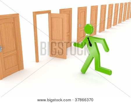 3d small person running through opened door.Isolated on white background. stock photo