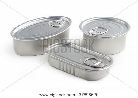 closed tin cans isolated on white background stock photo