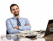 clever businessperson with arms crossed - separated on white foundation