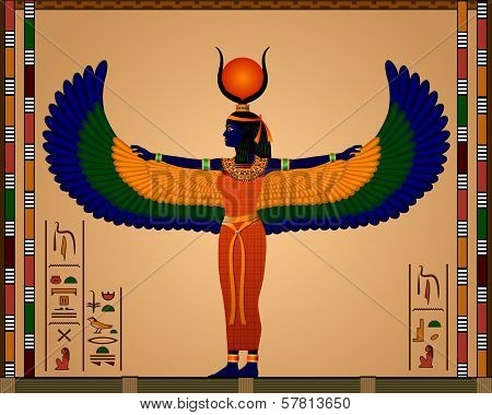 Religion of Ancient Egypt. Isis - the goddess of ancient Egypt. Vector illustration. stock photo