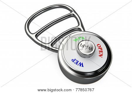 3d render of a a combination lock with encryption protocols dial stock photo