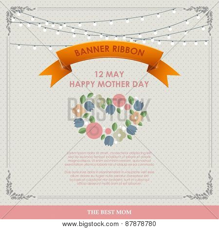 Vintage Happy Mothers\'s Day Background. Happy mothers day cards flat