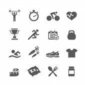 Health and Fitness symbols vector set symbols with a stopwatch muscle head weights dumbbells heart p