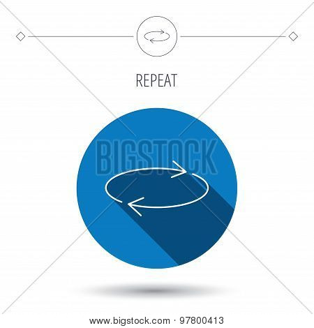 Repeat icon. Full rotation sign. Reload, refresh loop symbol. Blue flat circle button. Linear icon with shadow. Vector stock photo