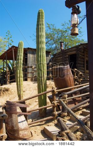 nature and architecture in the wild west style stock photo