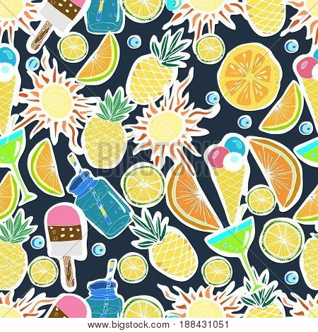 Tropical Travelling Objects.Seamless Pattern. Travel and Recreation Time Concept. Hand Drawn Vector illustration. Tropical Beach Party.