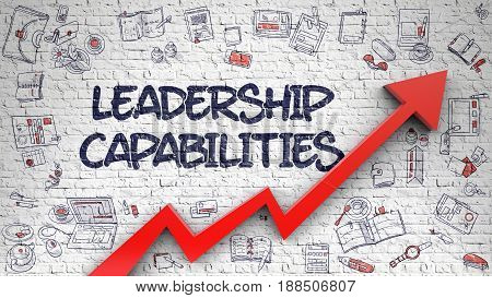 Leadership Capabilities Inscription on Line Style Illustration. with Red Arrow and Hand Drawn Icons Around. Leadership Capabilities - Modern Illustration with Doodle Elements. stock photo