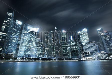 Modern City Skyline In Singapore Marina Bay
