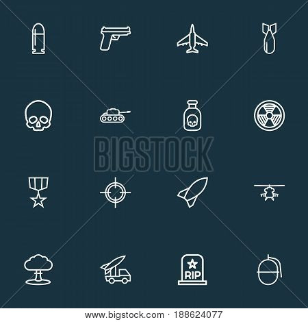 Battle Outline Icons Set. Collection Of Aircraft, Radiation, Military And Other Elements. Also Includes Symbols Such As Tank, Shot, Cooper. stock photo
