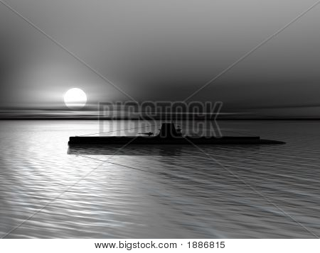 High resolution 3D render of submarine on a background of a sunset on the sea stock photo