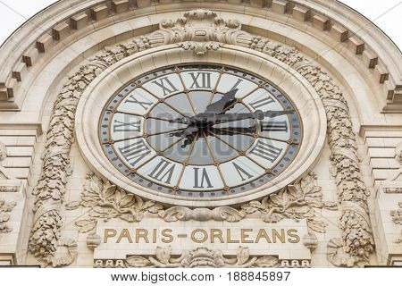 view of wall clock in D'Orsay Museum. D'Orsay - a museum on left bank of Seine, it is housed in former Gare d'Orsay stock photo