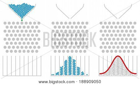 Galton box and normal distribution with red Gaussian bell curve. Bean machine, also quincunx, device to demonstrate the central limit theorem in mathematics. Illustration on white background. Vector. stock photo