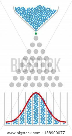 Bean machine and normal distribution with red Gaussian bell curve. Galton box, also quincunx, device to demonstrate the central limit theorem in mathematics. Illustration on white background. Vector. stock photo