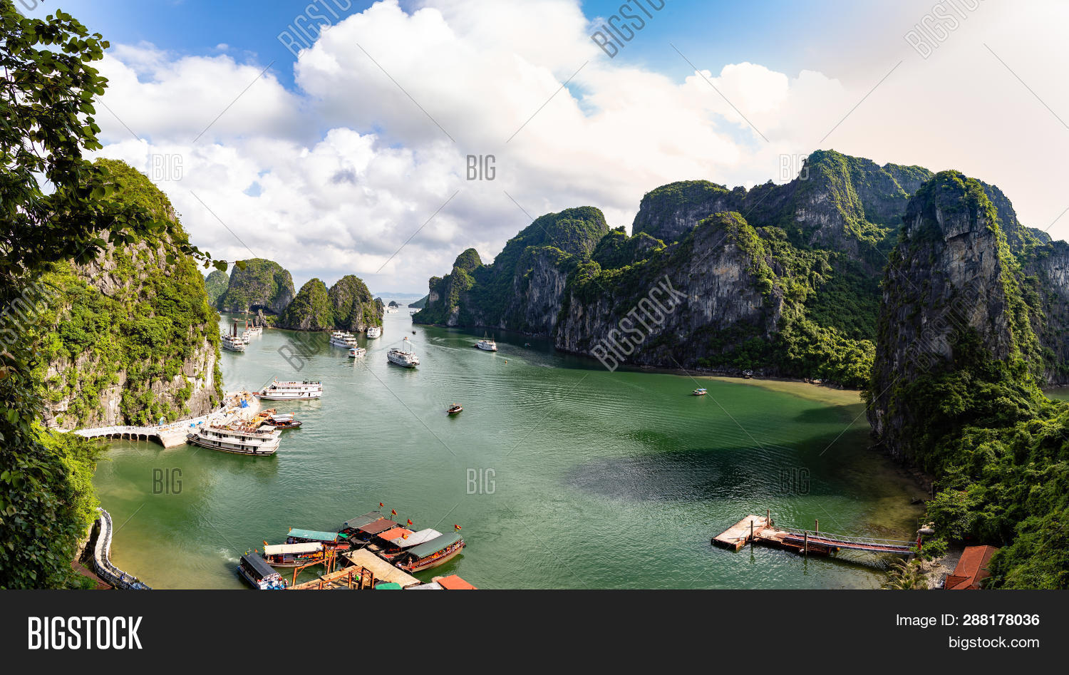 Halong Bay, Vietnam, Panorama Of The Bay In Front Of Hang Sung Sot Grottoes. Unesco World Heritage S