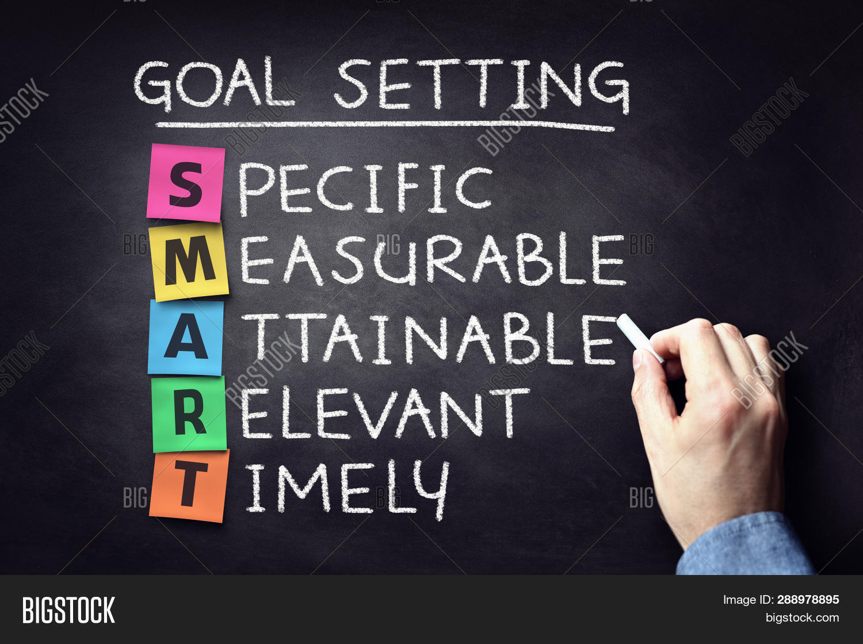 Smart business goal setting project management concept on blackboard