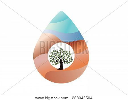 Saving water and world environmental protection concept. World water day. Card for your design.Water droplets with the background are waves of blue tones. stock photo