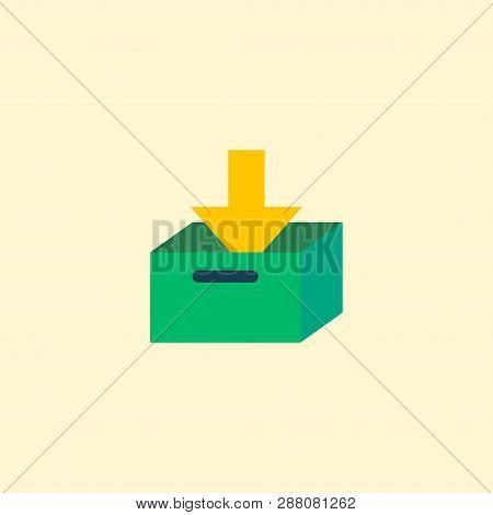 Archive icon flat element. Vector illustration of archive icon flat isolated on clean background for your web mobile app logo design. stock photo