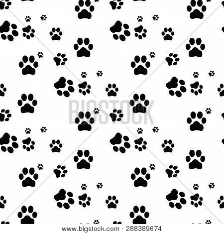 Dog Paw Seamless.cat Paw Dog Paw Kitten Vector Seamless Pattern Wallpaper Background