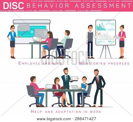 Flat Banner Disc Behavioral Assessment. Vector Illustration on White Background. Employee Training Monitoring Progress Help and Adaptation in Work. Staffing Agency Work Together over Closing Job. stock photo