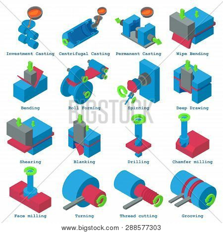 Metalwork icons set. Isometric illustration of 16 metalwork icons for web stock photo