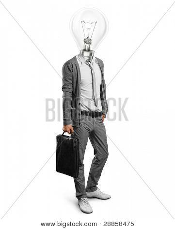 lamp head businessman have got an idea stock photo
