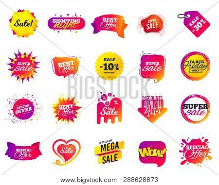 Sale banner. Special offer template tags. Cyber monday sale discount. Black friday shopping icons. Best ultimate offer badge. Super shopping discount icons. Mega banners set vector stock photo