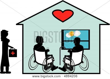Sharing their love of many years with Home Care in their home...the final days together with Love and dignity. stock photo