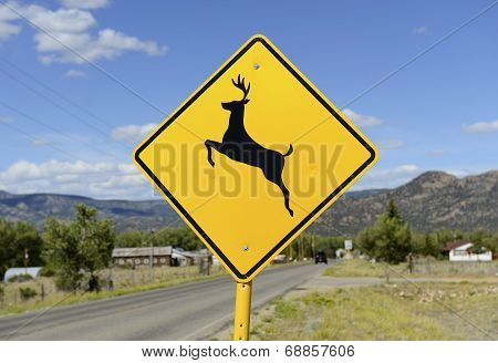 Driving safety - Deer Crossing warning sign on road stock photo