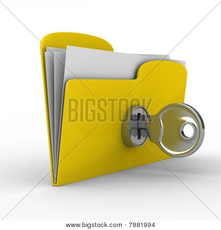 Yellow computer folder with key. Isolated 3d image stock photo