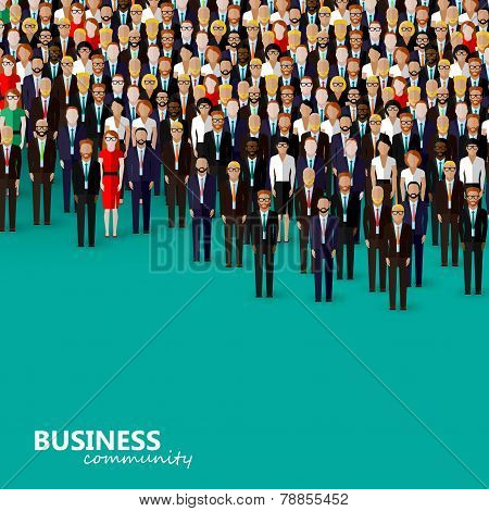 vector flat illustration of business or politics community. a crowd of men and women, business commu