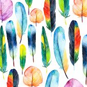 Watercolor plumes set. Hand drawn vector representation with brilliant plumes