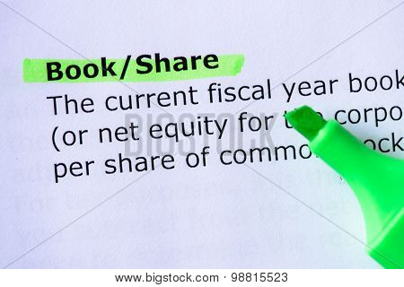 Book/Share words highlighted on the white background stock photo