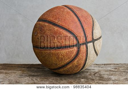 Close-up Old Basketball on old wood color stock photo