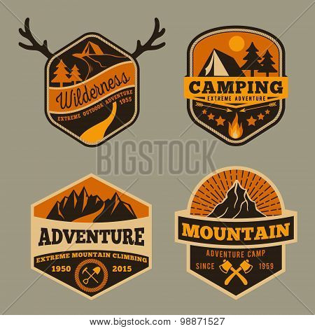Set of Vintage wilderness, adventure, camping and mountain badge logo design