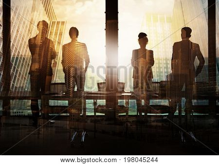 Group of business partner in office looking for the future. Concept of corporate and startup