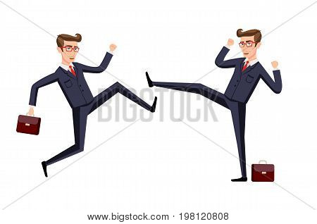 Business fight club. karate businesspeople and violence battler strength. Vector illustration art stock photo