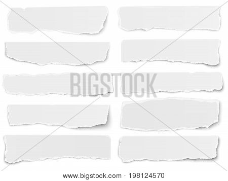Set of elongated torn paper fragments isolated on white background stock photo