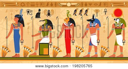 Colored border pattern on egypt theme with ancient egyptian deities and occult symbols flat vector illustration stock photo