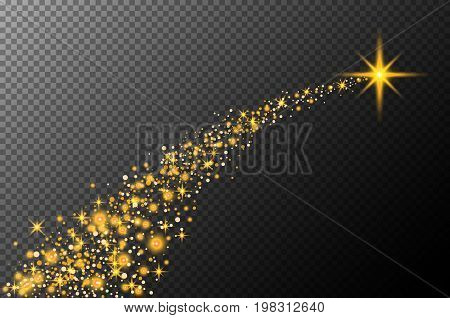 Abstract semitransparent vector magic glow star trail light effect with neon blur curved line shoots up. Sparkling translucent comet bokeh. Special white christmas effect on transparent background art stock photo