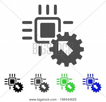Hitech Processor And Gear Integration flat vector pictograph. Colored hitech processor and gear integration, gray, black, blue, green icon versions. Flat icon style for graphic design. stock photo