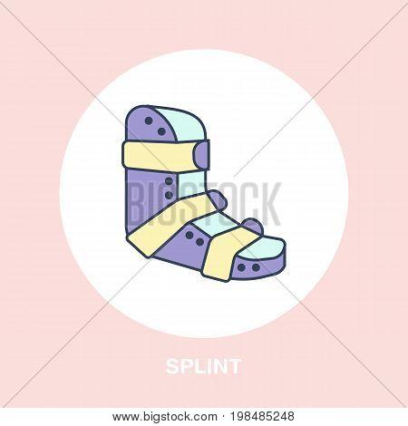 Splint for broken leg icon, line logo. Flat sign for trauma rehabilitation equipment shop. stock photo